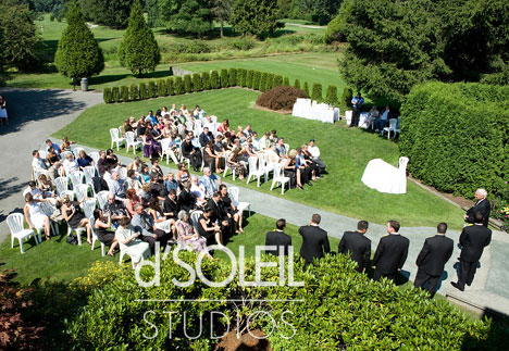 the wedding ceremony at Pitt Meadows Golf Club