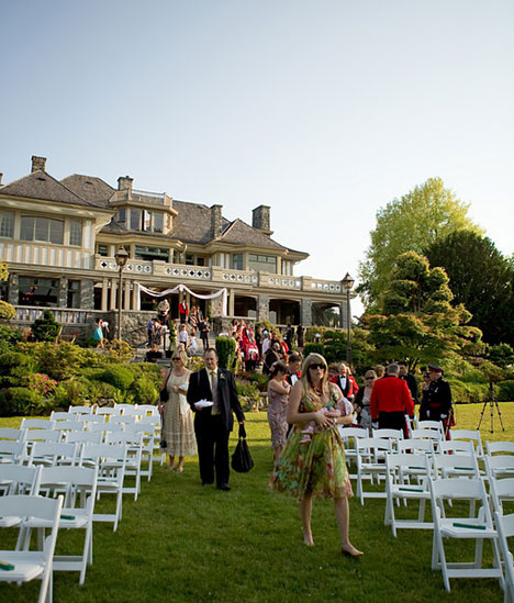 the wedding ceremony, on the lawn of Cecil Green, in Vancouver