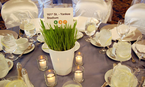 wheatgrass green wedding centrepieces & LED candles