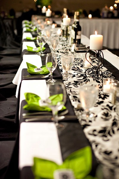 Wedding Decor colotcoordinated themed table runners and linens Damask