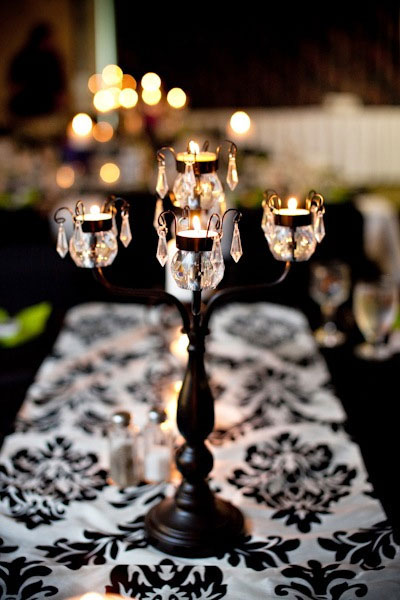 Wedding Centrepiece: traditional candelabra with crystals (and candles!)
