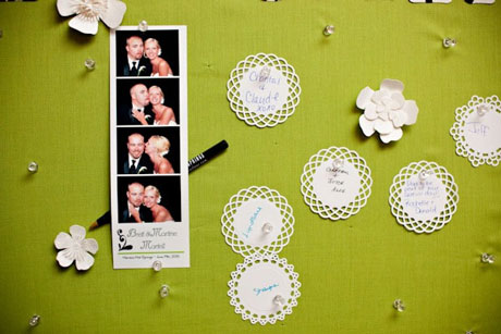 Wedding Guests & Entertainment: a board and a photobooth, for fun and dedications