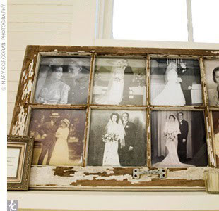 Wedding trends wedding ideas in canada for Using old windows as picture frames