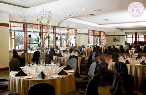 Wedding reception room at Quilchena Golf and Country Club in Richmond, black and copper theme.