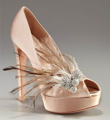 Christian Dior 2012 wedding shoes with Feather & rhinestone
