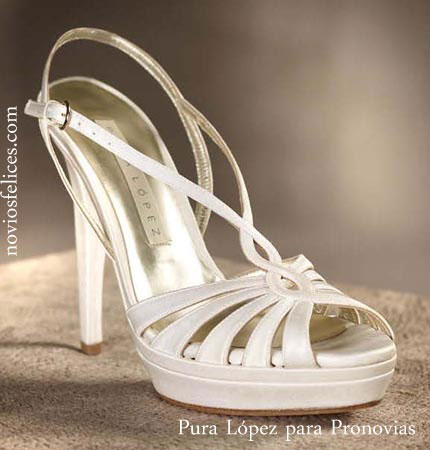 White bridal shoes by Pronovias 2012