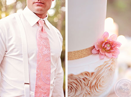 Peach / blush / coral wedding theme. Bridal photoshoot by Edmonton wedding planner Stacey Foley; as seen on Bride.Canada