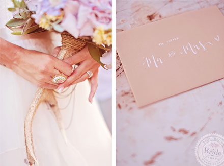 Details on this blush, Spring wedding theme. Bridal photoshoot by Edmonton wedding planner Stacey Foley; as seen on Bride.Canada