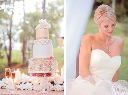 Blush wedding cake by Style-Cakae in Edmonton. Bridal photoshoot by Edmonton wedding planner Stacey Foley; as seen on Bride.Canada
