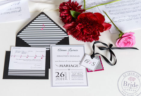 Contemporary black, white & red wedding stationary