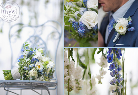 Blue & white weddin gflowers