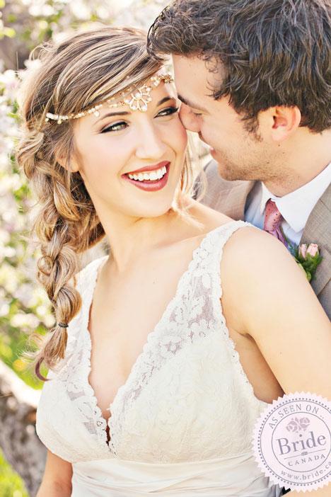 Bridal hair, braid with headpiece