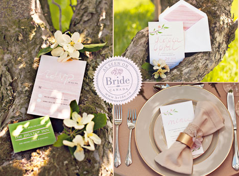 Spring themes, pastel wedding invitations