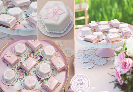 pink wedding pastries and mini-cakes