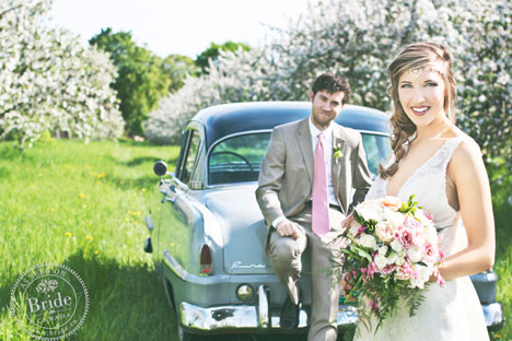 Beautiful wedding photography with vintage car