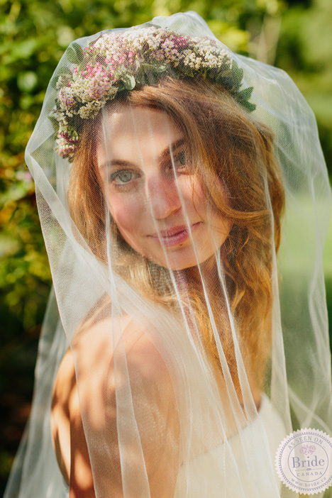 Bride in floral crown and veil