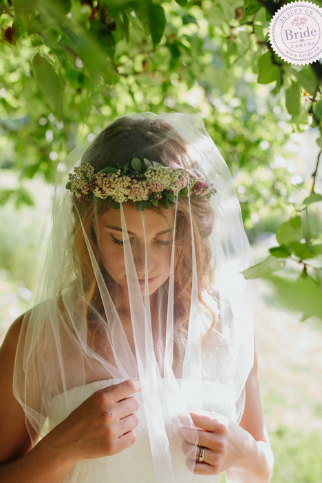Bride in flower crown and veil