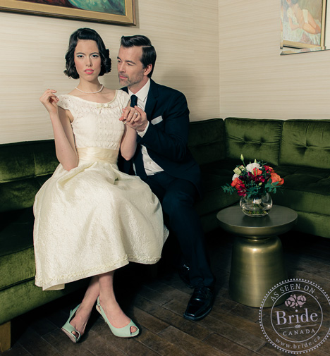 retro 50s style bride and groom