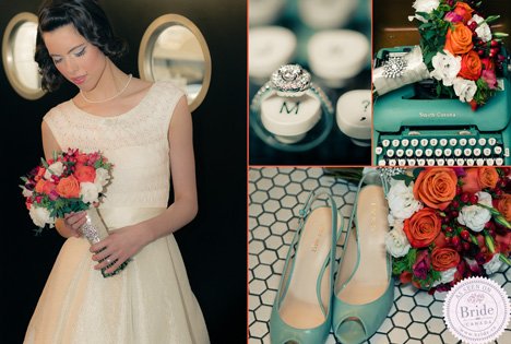 Orange and teal wedding colours