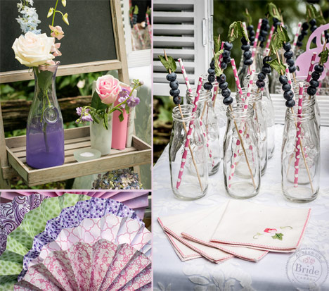 Pastel shabby chic wedding accents with lanterns, paper fans, and milk jars.