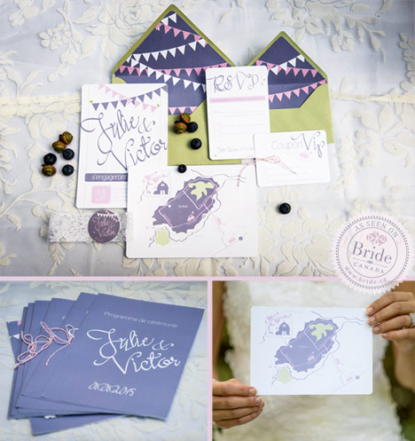 Wedding invitation suite with light green, purple, white, and pink. Invite, RSVP, ceremony program, and custom map.
