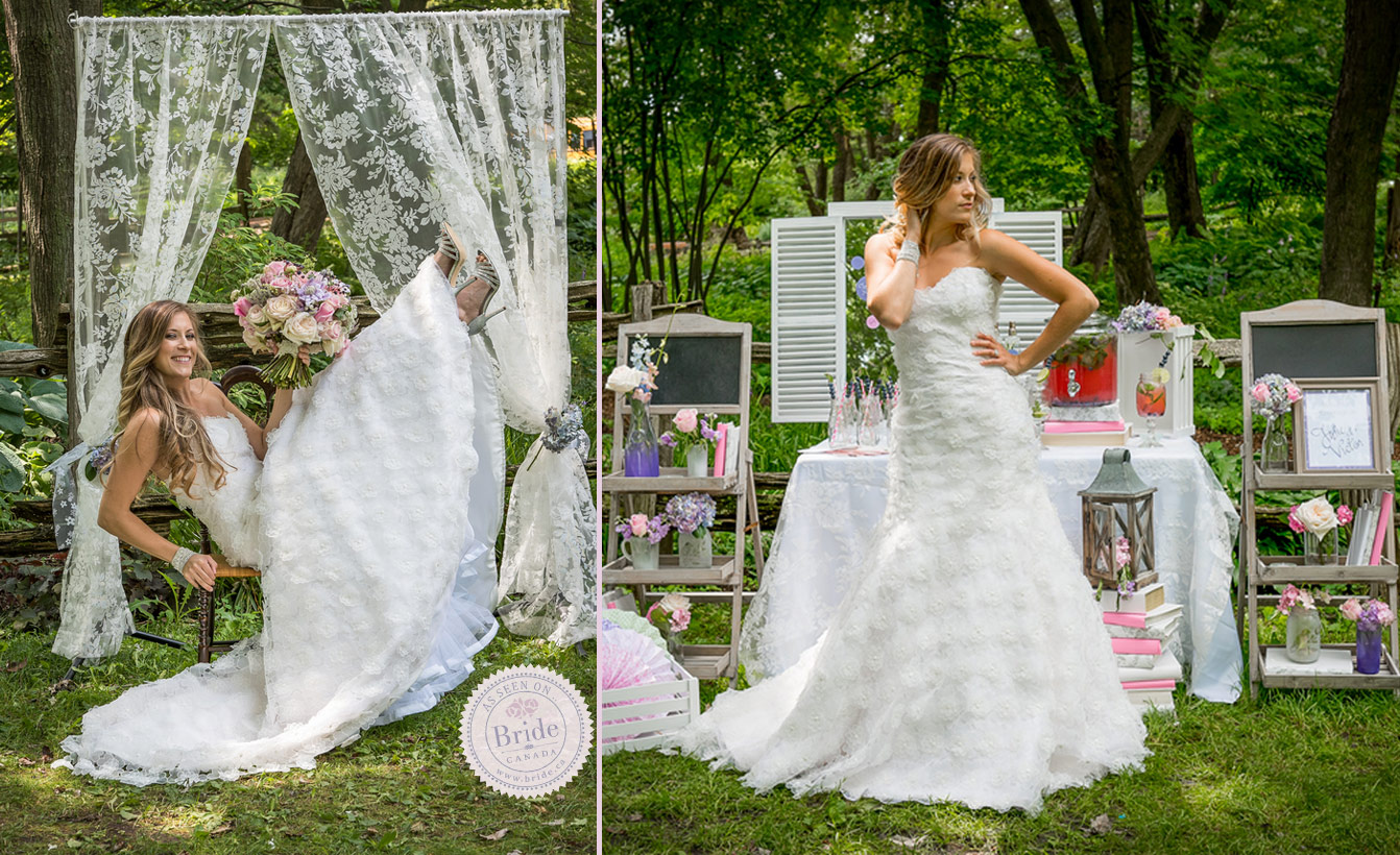 shabby chic bridal inspiration shoot pastel palette country chic wedding dresses A lace curtain is a great option for your wedding photo booth