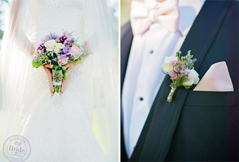 wedding bouquet with pink white purple and vintage brooch and matching boutonniere with light pink pocket square