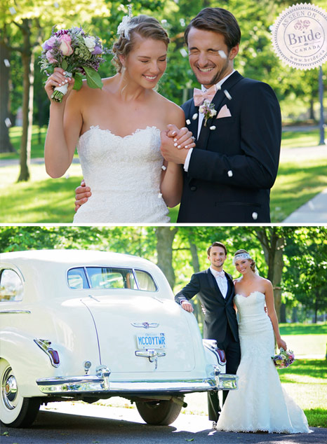 bride and groom leaving ceremony with processional toss and posing with vintage car