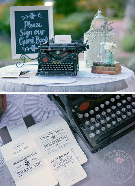 wedding invitation set with poster letters, vintage typewriter, and birdcage for envelopes