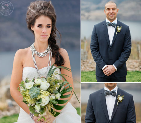 High fashion bride wearing statement crystal necklace and high volume braided hair. Groom wearing bowtie and blue suit.