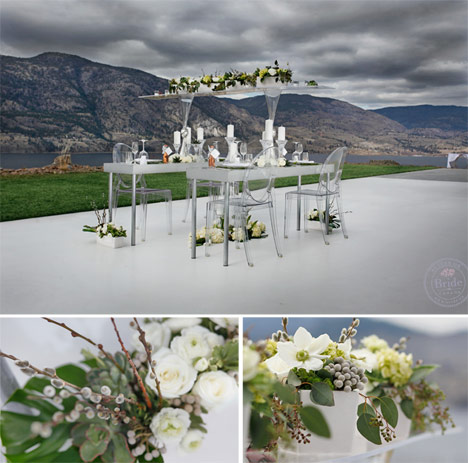 Wedding reception table ideas, succlents, white vases, and lucite table and chairs.
