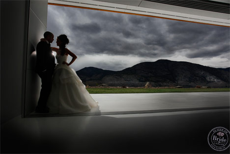 bride and groom in shadows at painted rock estate winery okanagan wedding
