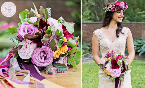 Bride wearing Stella York 5922 and a floral crown, holding a vibrant wedding bouquet