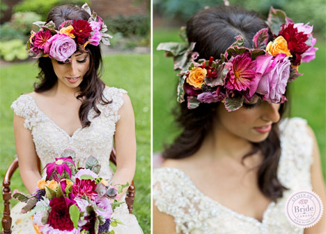 Bride sitting in chair wearing floral crown with purple red pink and orange tones