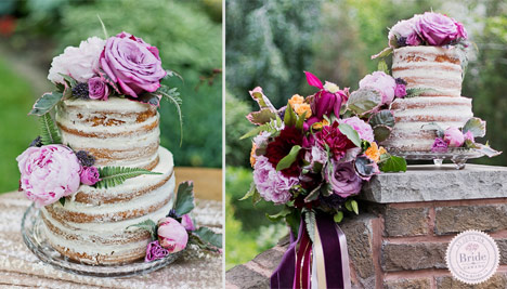 naked undressed wedding cake accented with pink roses alongside a vibrant bouquet with ribbon streamers.