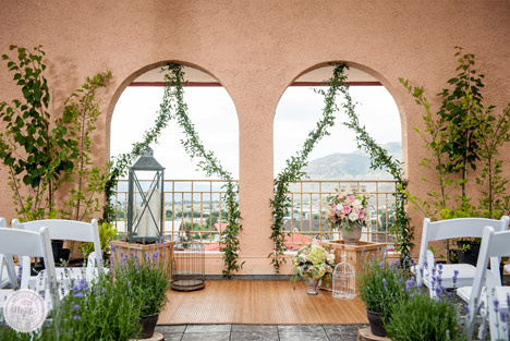 Tuscan themed wedding ceremony ideas at The Plaza Hotel in Kamloops