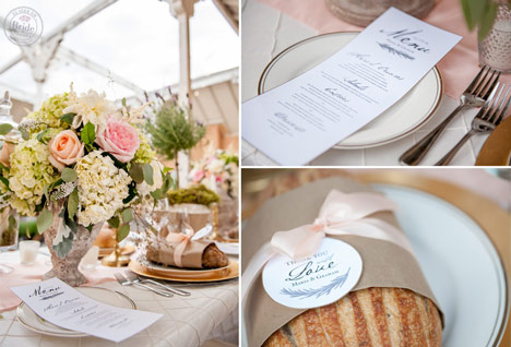 Blue and white wedding stationary. Menu and with love favor tags on loaves of bread.