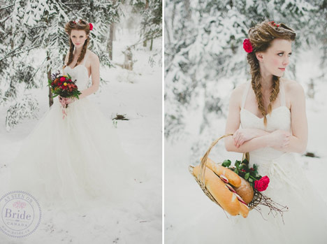 Bride wearing tulle and lace ballgown in the snow with braided hair and rich wedding bouquet.