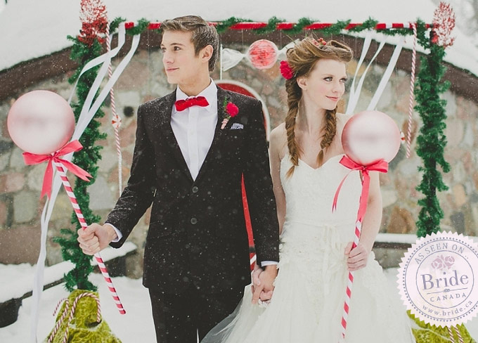 bride groom outdoor festive wedding ceremony inspiration, candy canes, hansel gretel theme