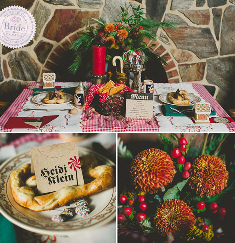 German inspired winter wedding reception with checkered table cloth and candy canes