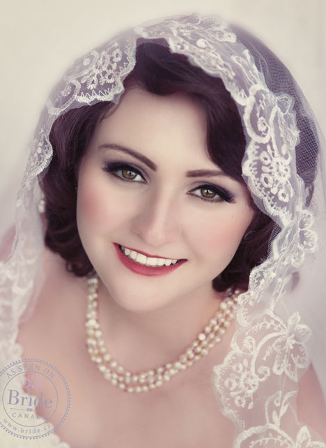 retro bride portrait