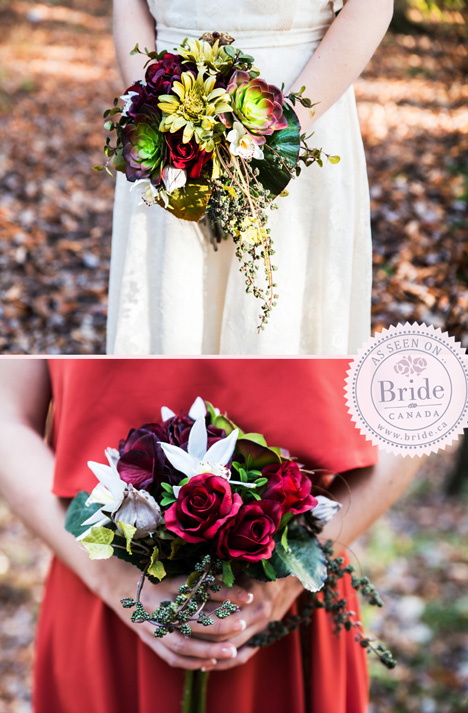 Fall/Autumn or Winter themed bridal floral bouquet