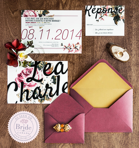 Custom designer Fall / Autumn wedding invitations