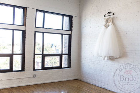 wedding dress in old warehouse