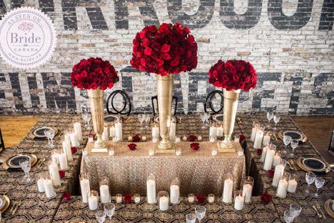 gold and red wedding centrepiece