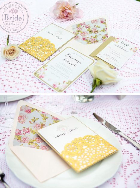 Gold, White & Pink Wedding Stationary