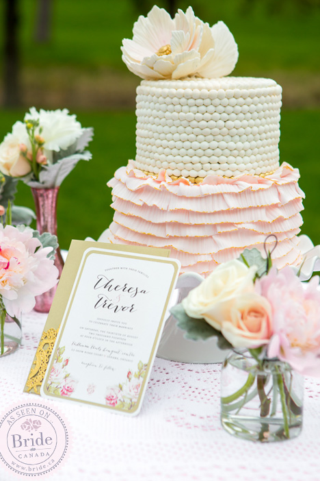 Blush & White 2-tiered Wedding Cake