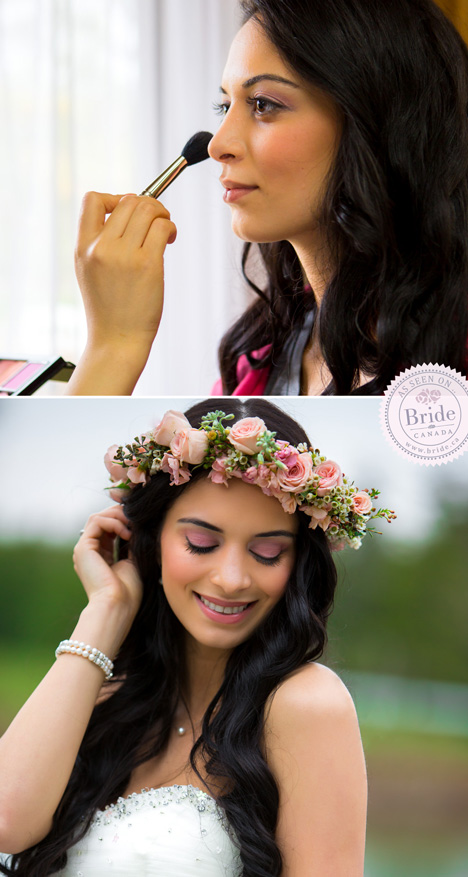 Beautiful bridal makeup with floral crown