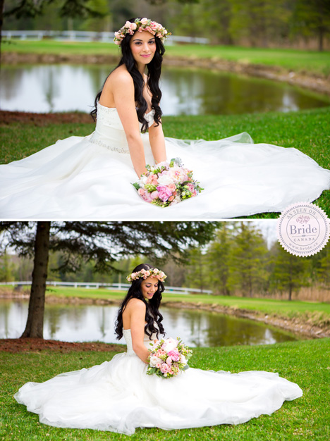 Gorgeous bride on the grass at Trillium Trails Banquet Conference Centre