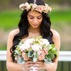 Gorgeous bridal bouquet and matching mini-rose crown